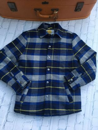 Mini Boden blue checked shirt with fleece lining